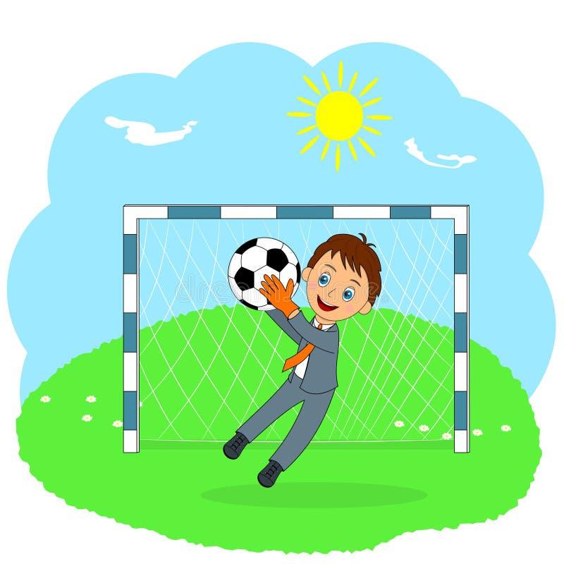 Młody biznesowy bramkarz łapie piłkę ilustracja wektor