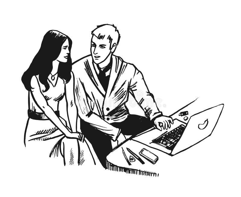 Młody Biznesowy mężczyzna i kobieta pracuje wraz z notatnikiem Nakreślenie ręka rysujący styl ilustracji