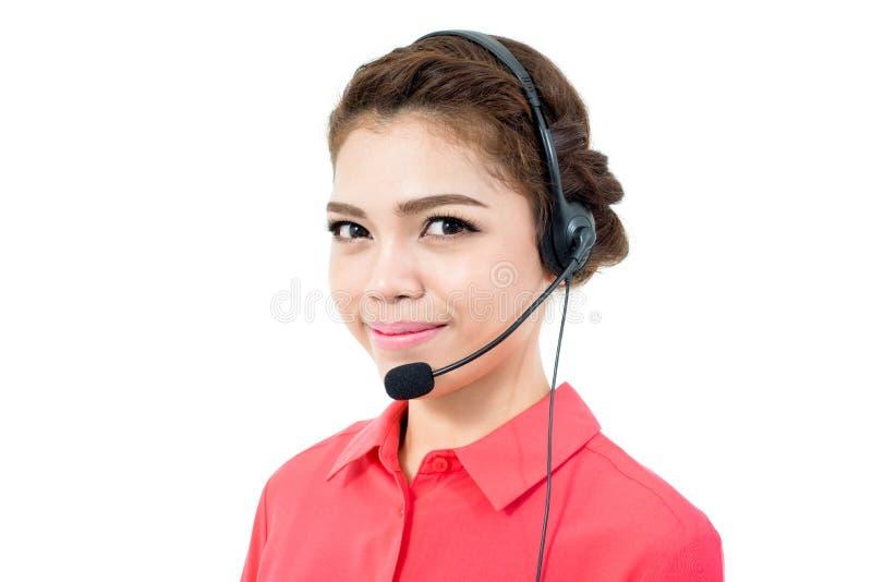 Młody bizneswoman jest ubranym mikrofon słuchawki fotografia royalty free