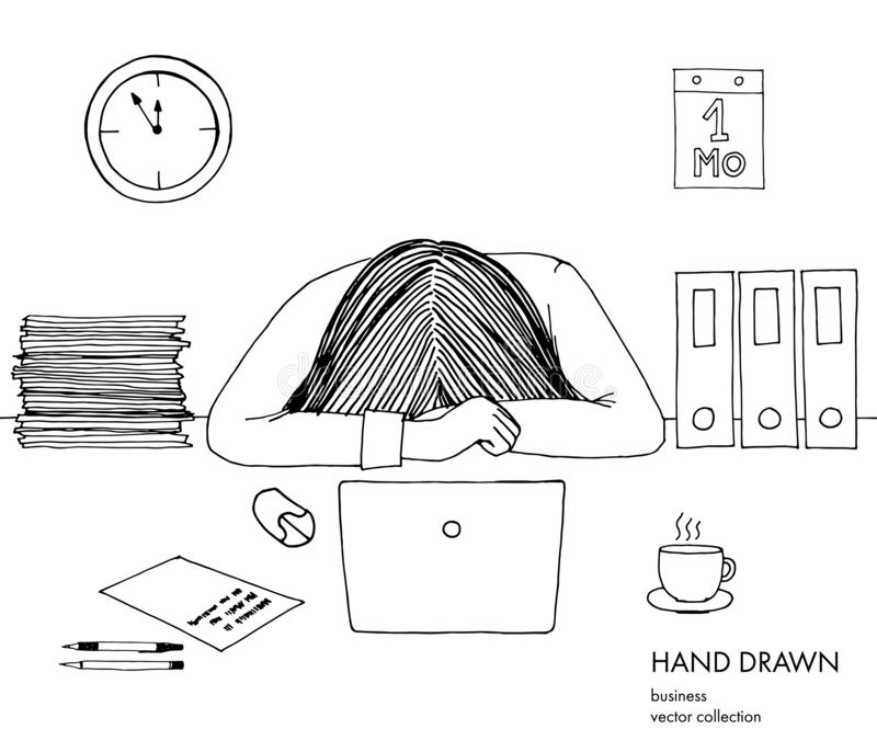 Młody bizneswoman kłaść jej kierowniczego puszek na stole Sfrustowany, skołowany, śpiący, zmęczony praca Laptop, komputer, komput ilustracja wektor