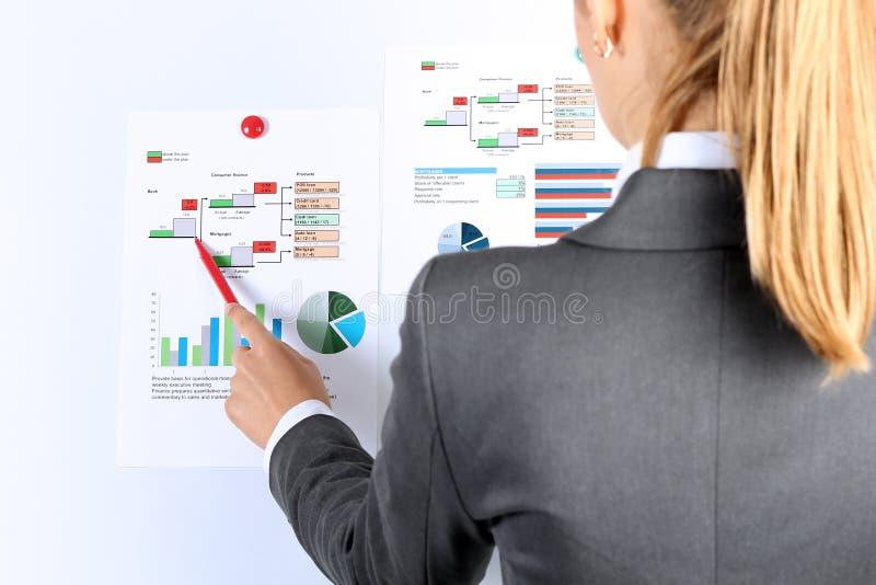 Młody bizneswoman pokazuje wykresy piórem fotografia stock