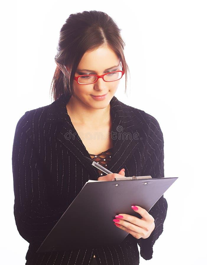 Młody bizneswomanu writing zdjęcia stock