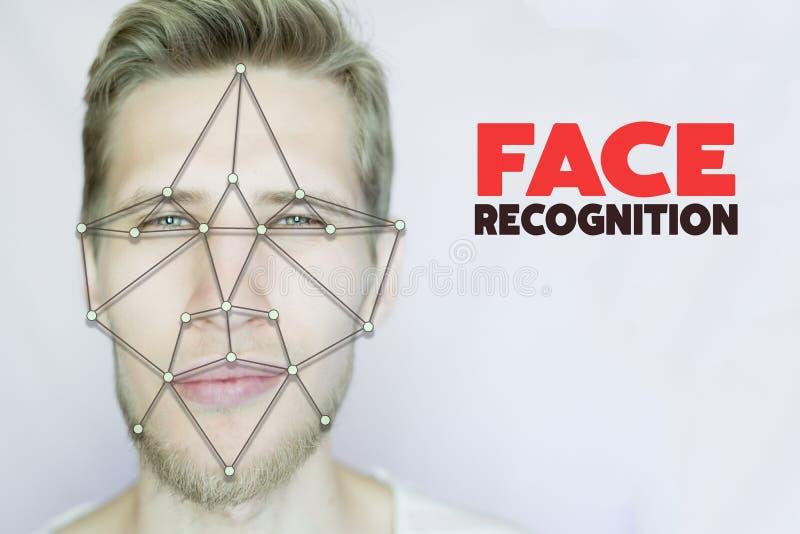 Młody brodaty mężczyzna twarzowy i oka rozpoznania pojęcie odizolowywaliśmy tło obraz royalty free