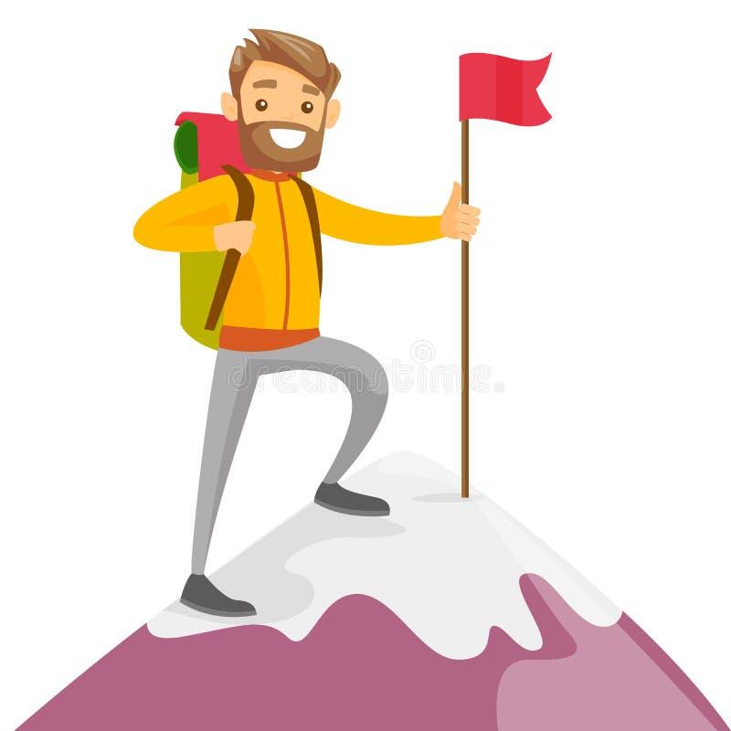 Młody caucasian biały człowiek na wierzchołku góra royalty ilustracja