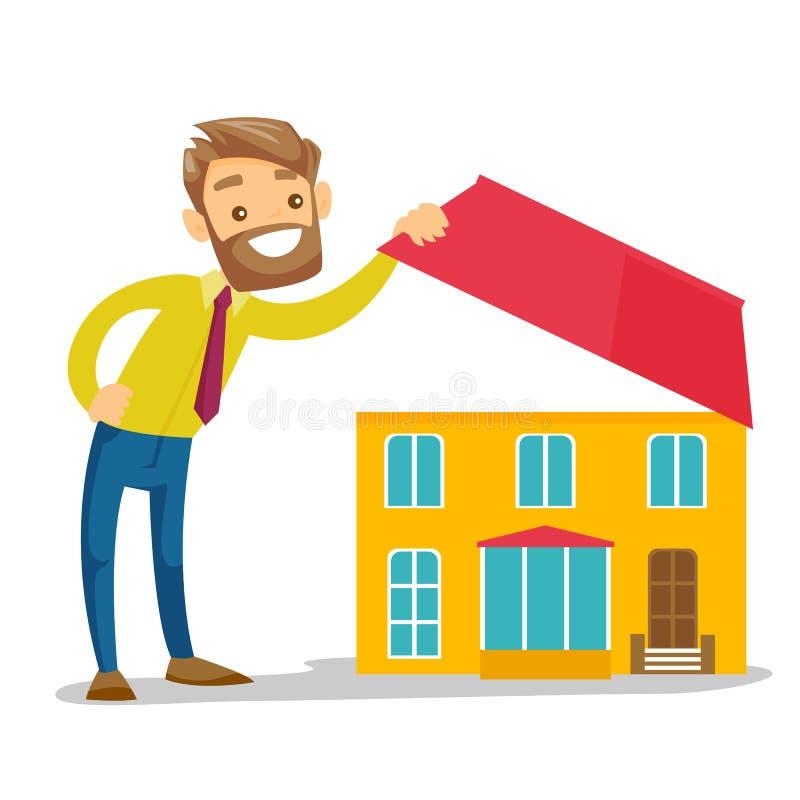 Młody caucasian biały człowiek patrzeje dla nowego domu ilustracja wektor