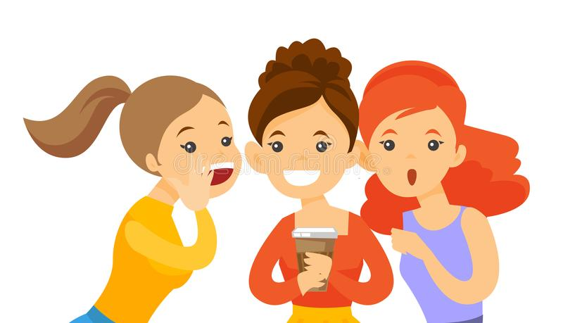 Młody caucasian białych kobiet dzielić plotkuje ilustracji