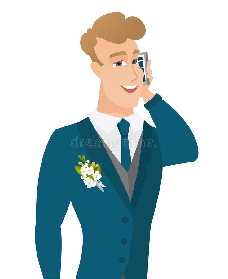 Młody caucasian fornal opowiada na telefonie komórkowym royalty ilustracja