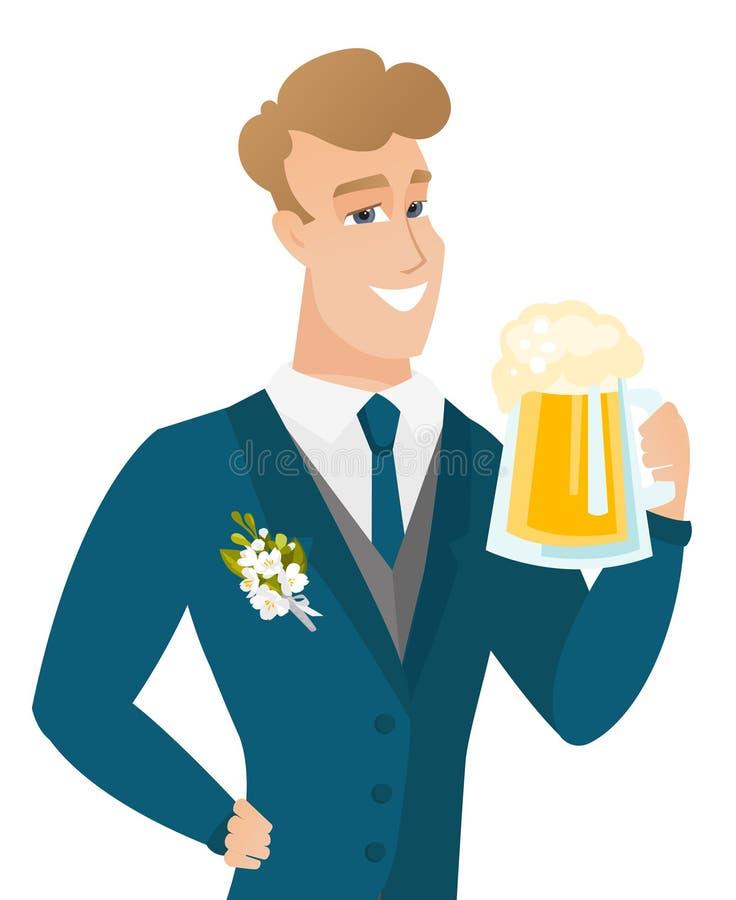Młody caucasian fornal pije piwo ilustracja wektor