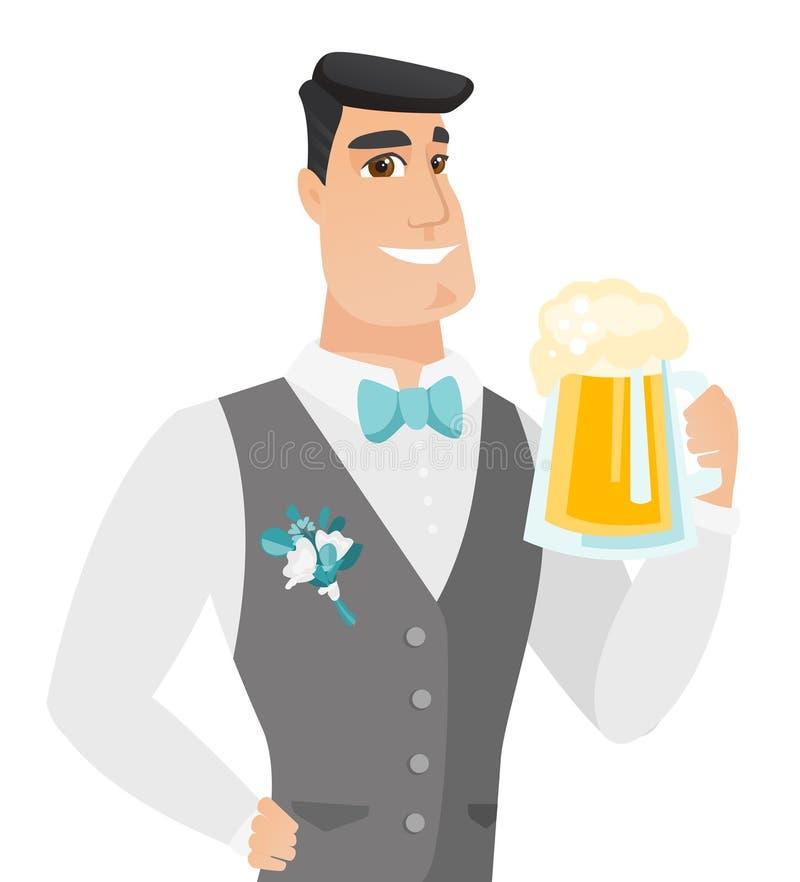 Młody caucasian fornal pije piwo royalty ilustracja