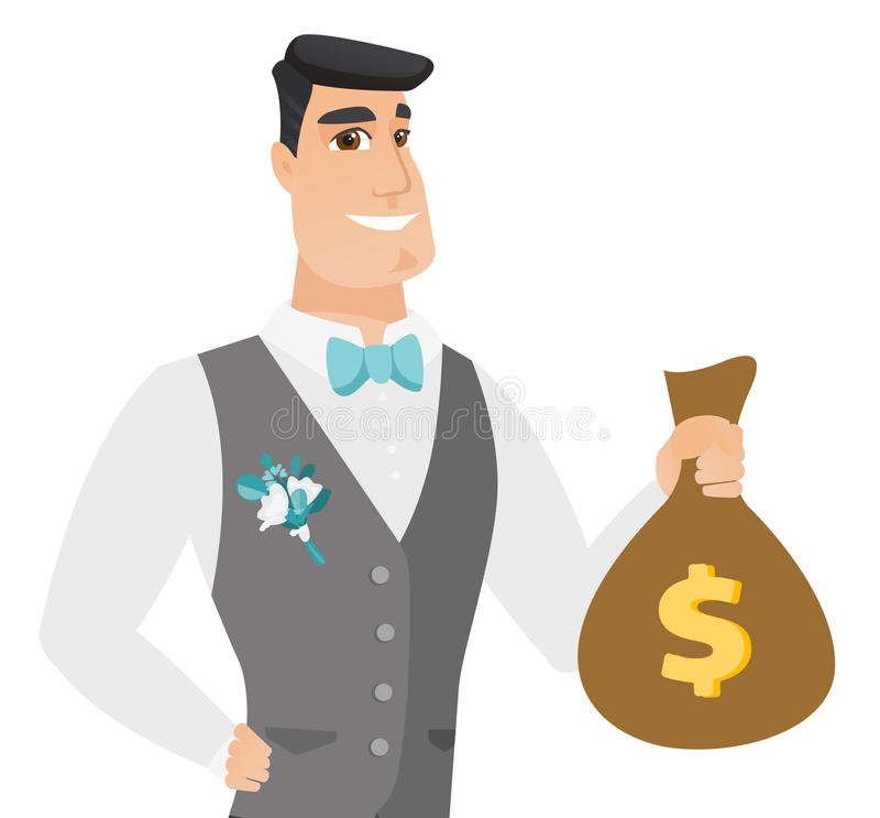 Młody caucasian fornal pokazuje pieniądze torbę ilustracja wektor