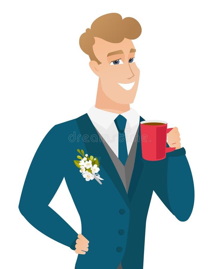 Młody caucasian fornal trzyma filiżankę kawy royalty ilustracja