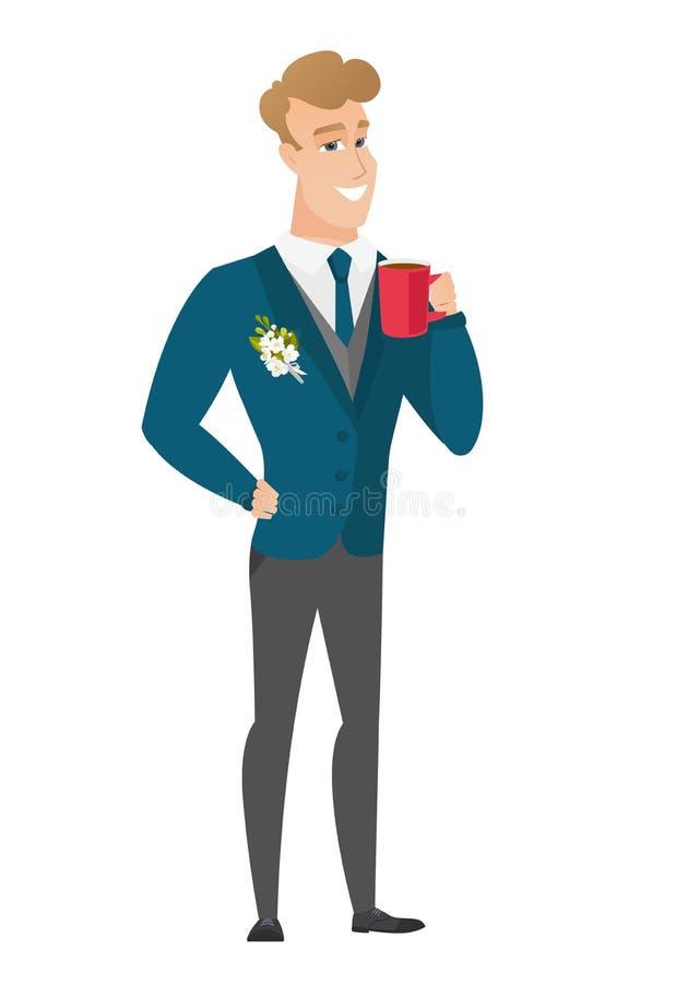 Młody caucasian fornal trzyma filiżankę kawy ilustracja wektor
