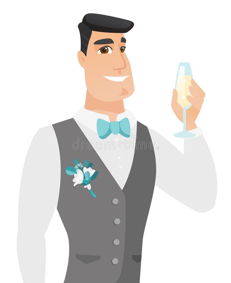 Młody caucasian fornal trzyma szkło szampan royalty ilustracja