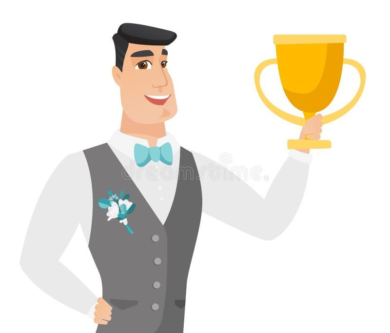 Młody caucasian fornal trzyma trofeum royalty ilustracja