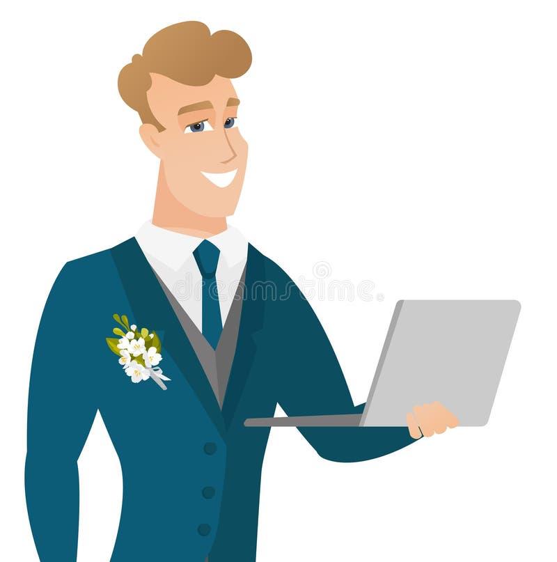 Młody caucasian fornal używa laptop ilustracji