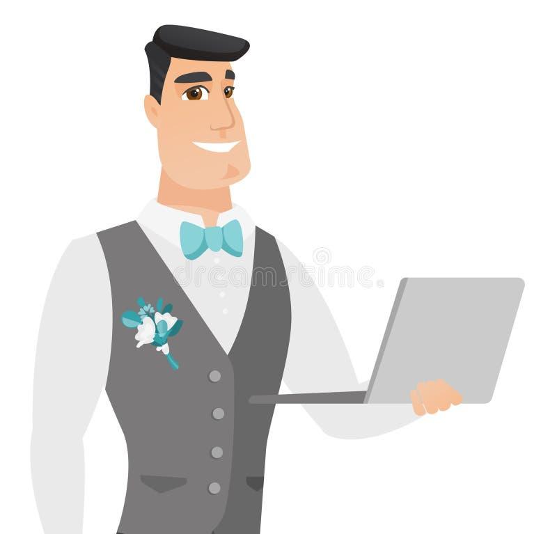 Młody caucasian fornal używa laptop ilustracja wektor