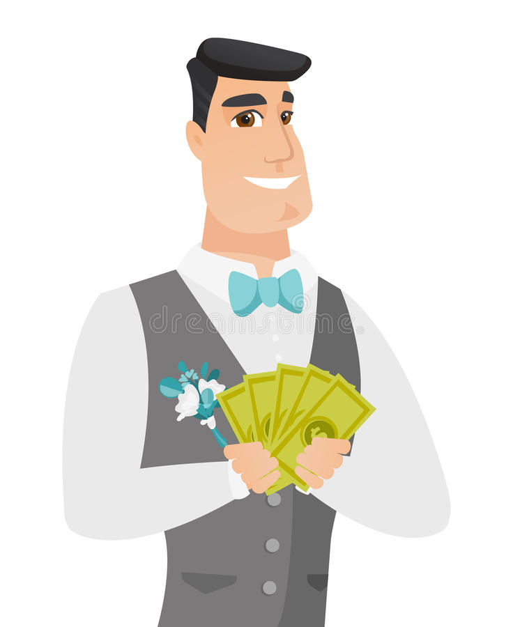 Młody caucasian fornala mienia pieniądze ilustracja wektor
