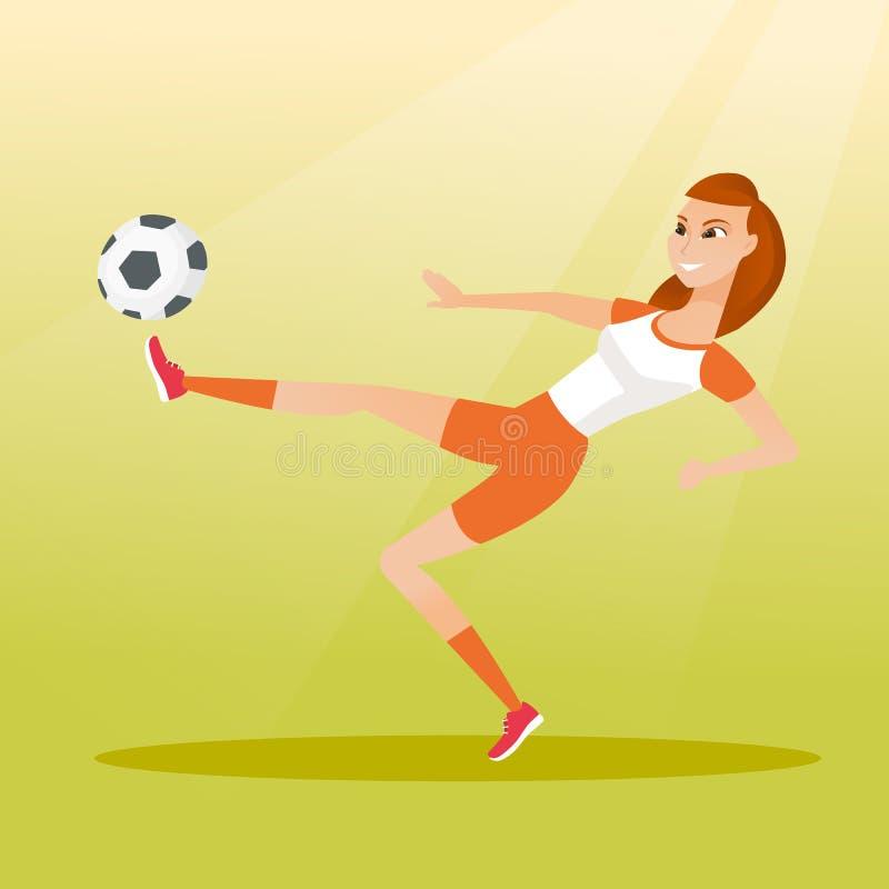 Młody caucasian gracz piłki nożnej kopie piłkę ilustracja wektor