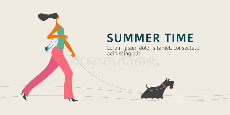 Młody caucasian kobiety odprowadzenie z psią wektorową ilustracją ilustracja wektor