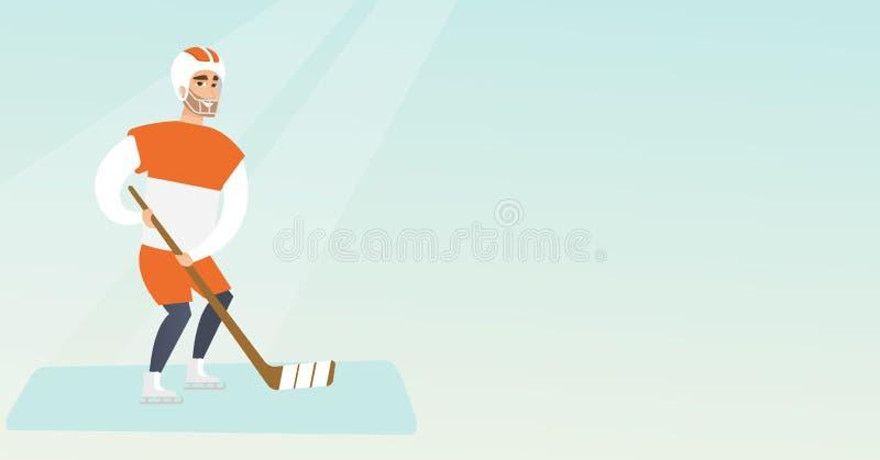 Młody caucasian lodu gracz w hokeja ilustracja wektor