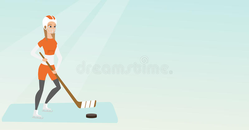 Młody caucasian lodu gracz w hokeja royalty ilustracja