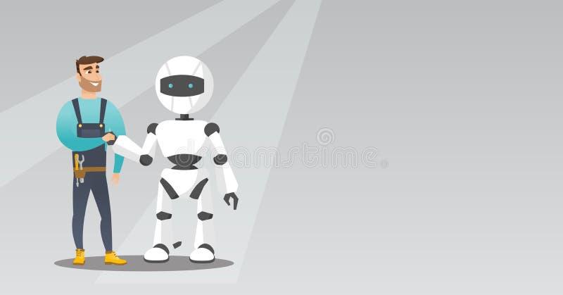 Młody caucasian mężczyzna handshaking z robotem ilustracji