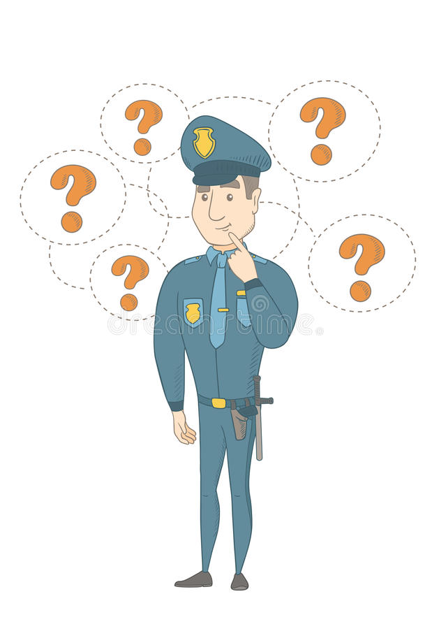 Młody caucasian policjanta główkowanie ilustracji
