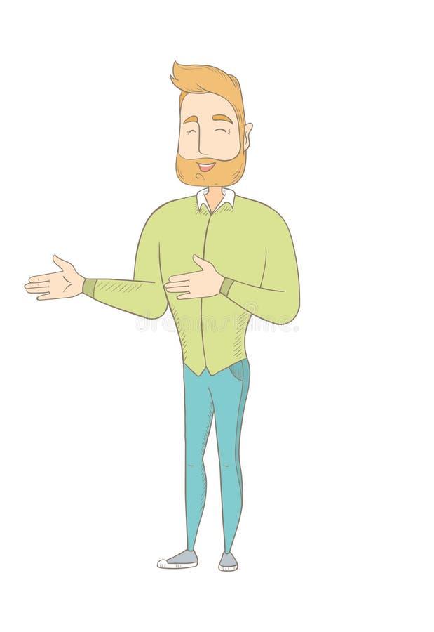 Młody caucasian szczęśliwy hipisa mężczyzna gestykulować ilustracja wektor
