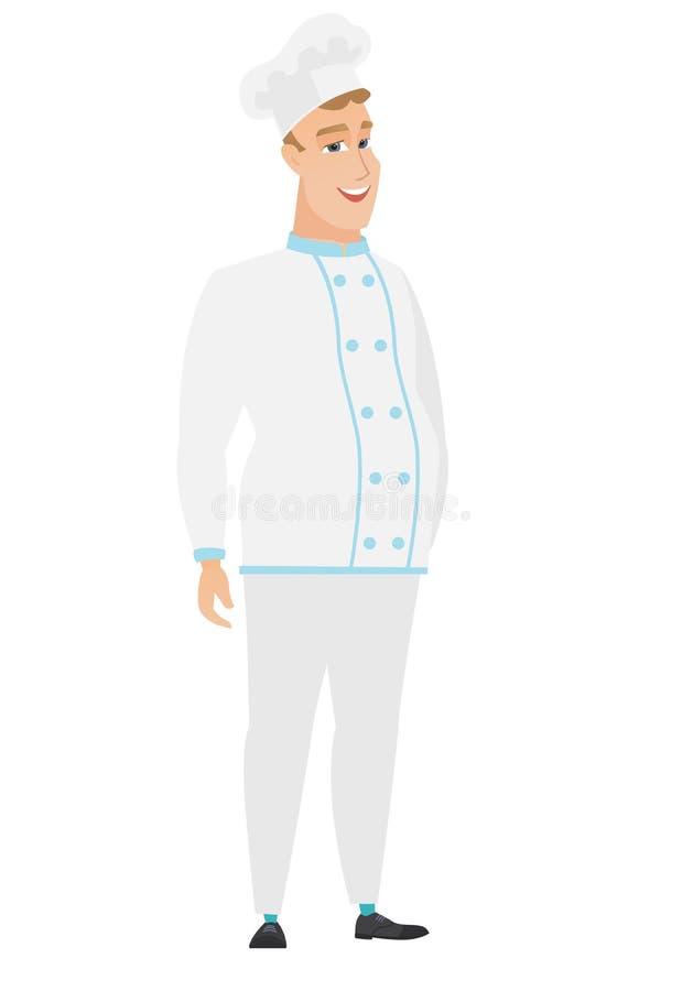 Młody caucasian szczęśliwy szefa kuchni kucharz ilustracji