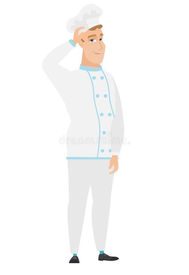 Młody caucasian szefa kuchni kucharz drapa jego kierowniczego ilustracja wektor