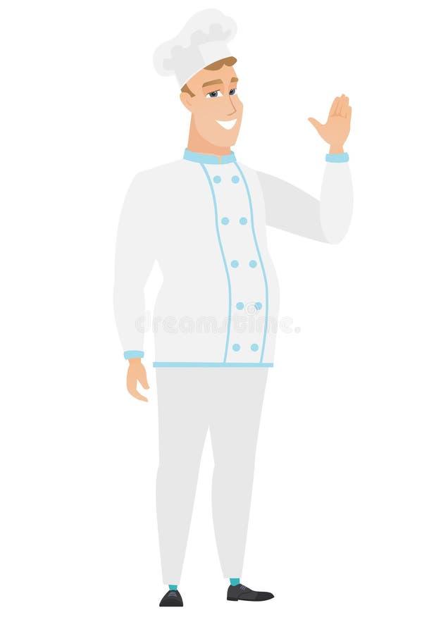 Młody caucasian szefa kuchni kucharz macha jego ręka ilustracji