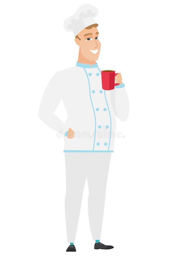Młody caucasian szefa kuchni kucharz trzyma filiżankę kawy ilustracja wektor