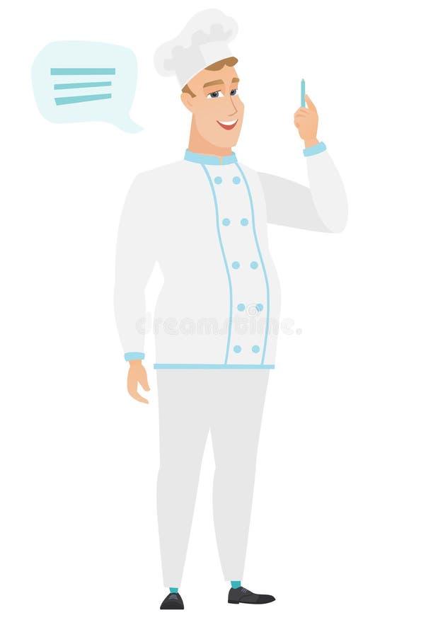 Młody caucasian szefa kuchni kucharz z mowa bąblem ilustracji