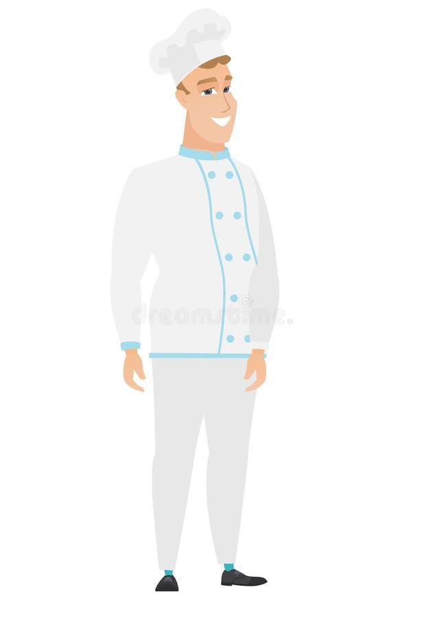 Młody caucasian ufny szefa kuchni kucharz ilustracji