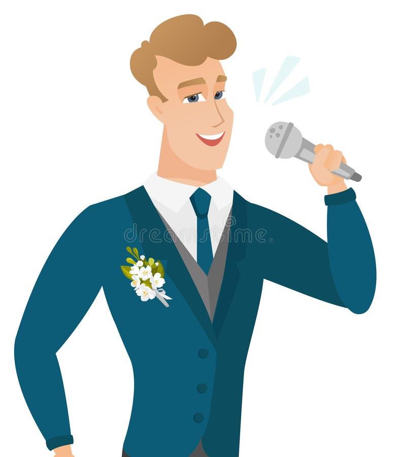 Młody caucasiangroom śpiewa mikrofon royalty ilustracja