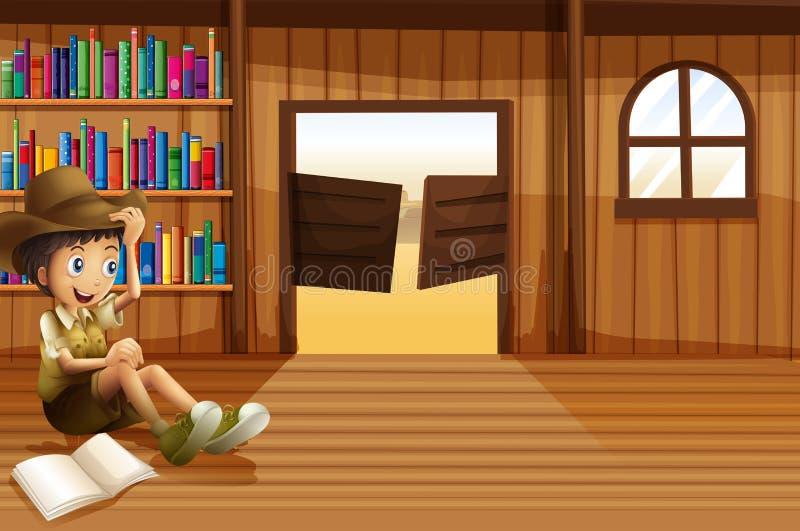 Młody chłopiec czytanie wśrodku pokoju z swingdoor ilustracja wektor