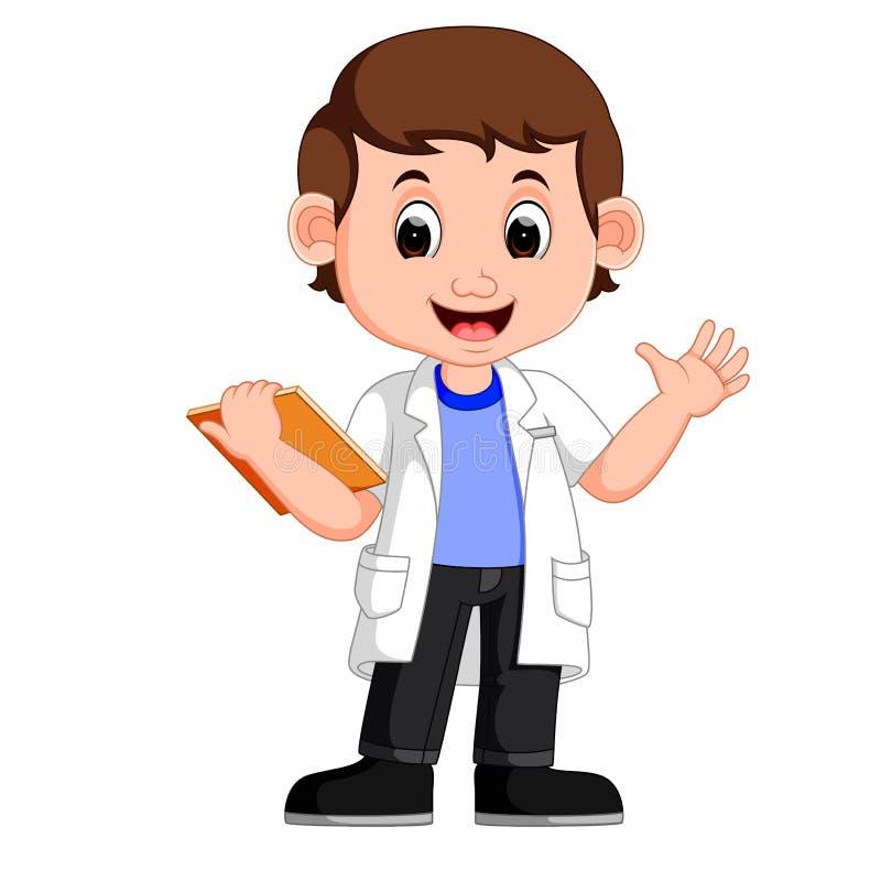 Młody chłopiec naukowiec ilustracji