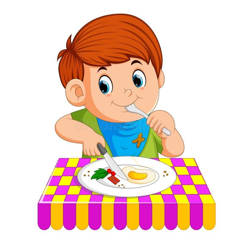 Młody chłopiec obsiadanie podczas gdy cieszy się mieć śniadanie royalty ilustracja