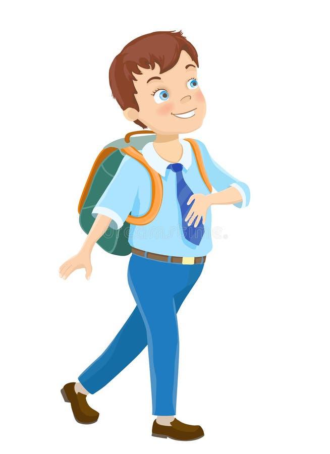 Młody chłopiec odprowadzenie szkoła ilustracja wektor