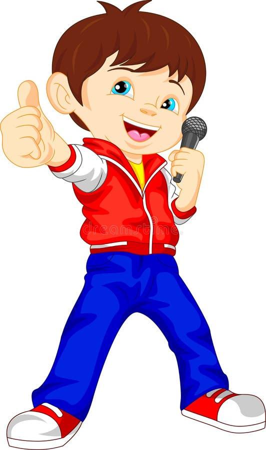 Młody chłopiec piosenkarza kciuk up ilustracja wektor