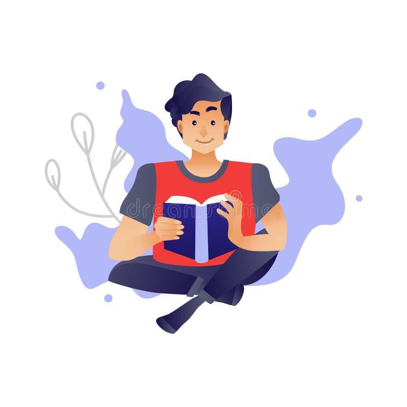 Młody chłopiec studiowanie lub relaksować z czytelniczą książką ilustracji