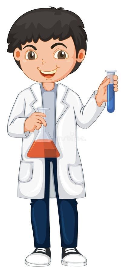Młody chemik na Białym tle ilustracji
