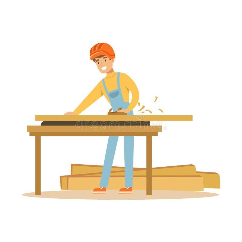 Młody cieśli mężczyzna pracuje z drewnem w jego warsztacie, fachowa drewniana jointer charakteru wektoru ilustracja royalty ilustracja