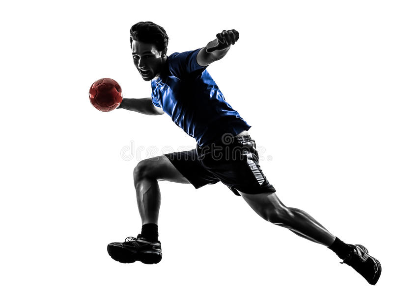 Młody człowiek ćwiczy handball gracza sylwetkę obrazy stock