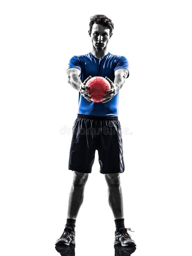 Młody człowiek ćwiczy handball gracza sylwetkę zdjęcie stock