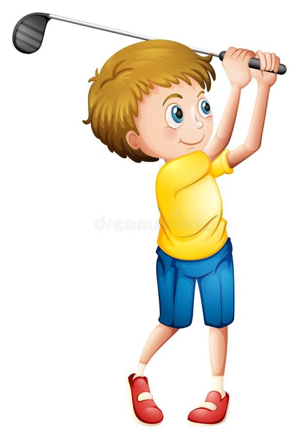 Młody człowiek bawić się golfa royalty ilustracja