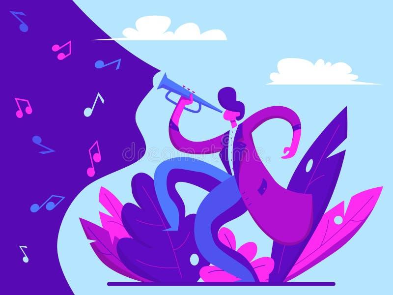Młody człowiek bawić się tubowego jazz ilustracji