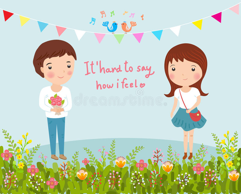 Młody człowiek daje kwiaty dziewczyna ilustracji