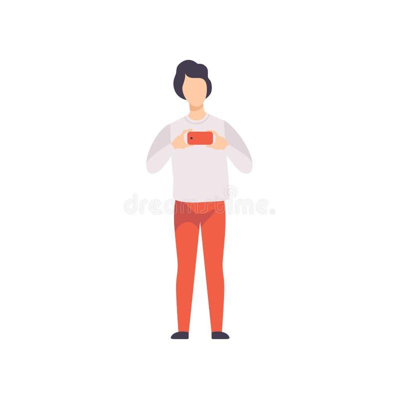 Młody człowiek fotografuje, facet bierze fotografię używać smartphone wektorowa ilustracja na białym tle ilustracji