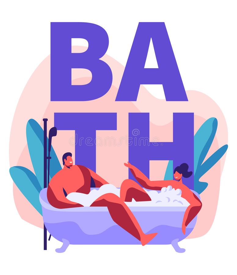 Młody Człowiek i kobieta Bierze Gulgoczący Kąpielowy Pełnego piana Romantyczna data w Wellness Hotelowej łazience, nowożeńcy mies ilustracja wektor